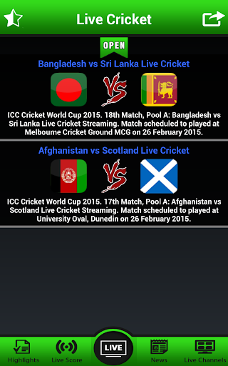 Live Cricket Phù hợp với